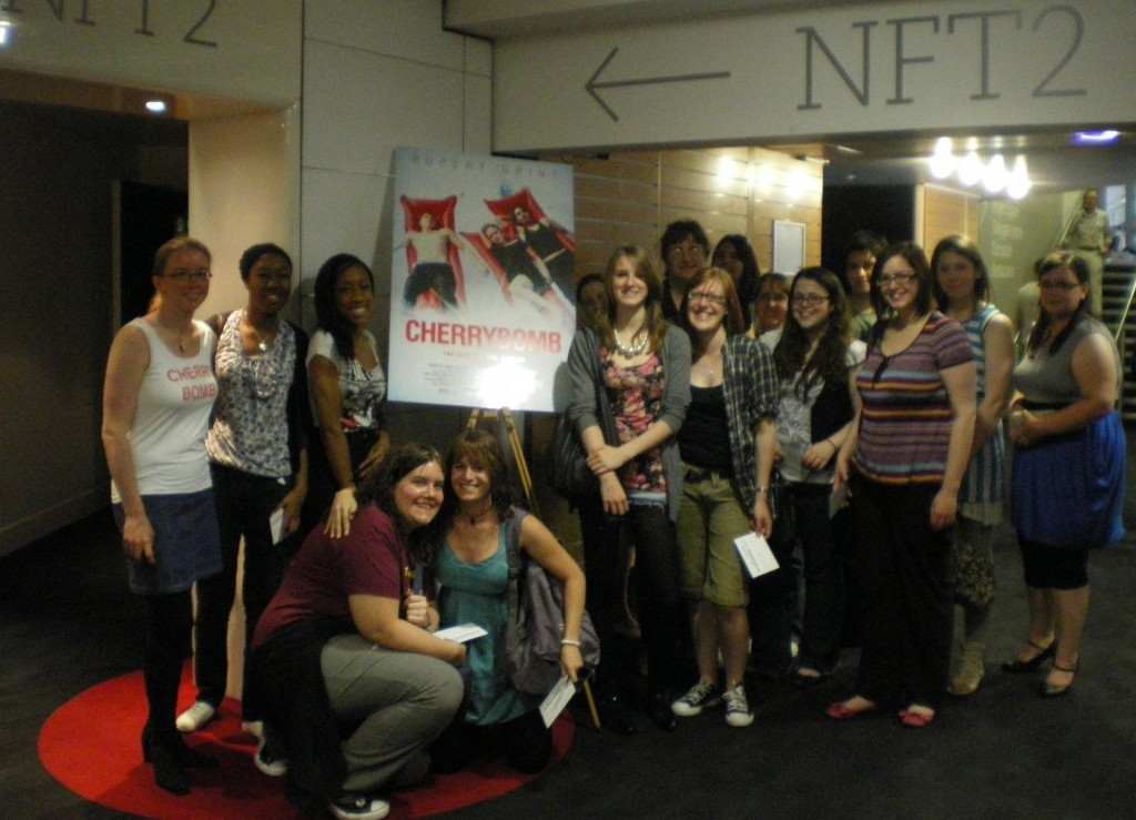 ICM staffer Karo with fans and representatives of other fansites who attended the London screening of Cherrybomb.