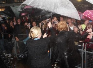 Rupert and his fans, drenched: London, World premiere of Half-Blood Prince